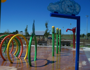 Colorful water park amenities