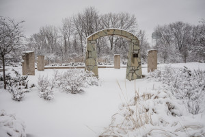 Stone archways in the winter with snow covering the ground