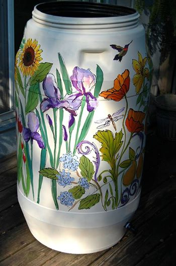 Wildflowers rain barrel